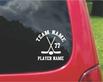 Set Ice Hockey Sports Decals with custom text Fundraising  20 Colors To Choose From.  U.S.A Free Shipping