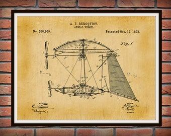 Patent 1894 Aerial Vessel Flying Machine Art Print Poster - Wall Art - Early Airplane - Aeronautics - Aviation Wall Art - Airport Art