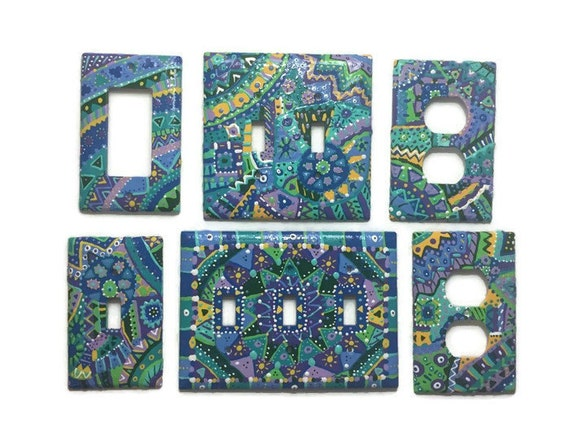 Multi Color Patterned Hand Painted Light Switch Plates
