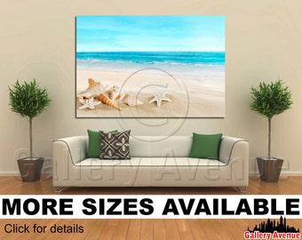 Wall Art Giclee Canvas Picture Print Gallery Wrap - Landscape shells starfish tropical beach - 60x40 48x32 36x24 24x16 18x12 3.2