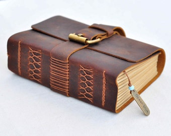 Personalized leather journal unique  book (Custom paper)