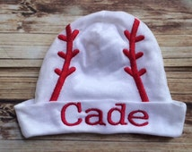Personalized baby Boy/Girl Hospital baseball or football beanie hat with matching booties socks 0-6M w/name embroidered baby shower gift