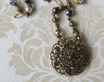 Vintage necklace ornate gold tone filigree repurposed necklace       handcrafted necklace, pendant necklace, bespoke