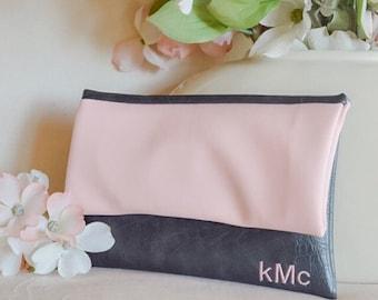 Monogram clutch - personalized leather purse - rose pink bridesmaid clutch - women's leather purse - color block fold over clutch - handbag