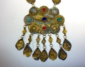 Vintage Yomud Turkmen Tribal Necklace with Solored Stones, Antique Yomud Necklace