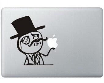 Like a Sir Meme holding apple macbook laptop decal sticker