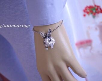 Rabbit Bracelet, Bunny Bracelet, Charm Bracelet, Chain Bracelet, Silver, Gold, Matte Black, Delivery in White Gift Box!