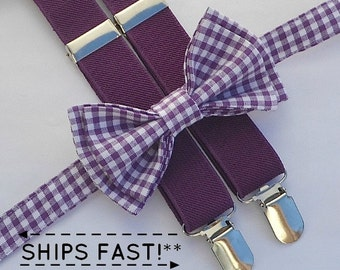 Purple Bow Tie & Eggplant Purple Suspenders -- Ring Bearer Outfit -- Bowtie Suspenders