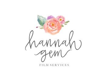 Premade Logo Design - Watercolor Flower - Photography Logo - Boutique Logo - Small Business Logo - Calligraphy - Handwritten Font