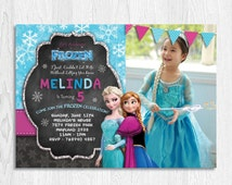 Frozen Birthday Invitation | Chalkboard | Personalized Custom Photo