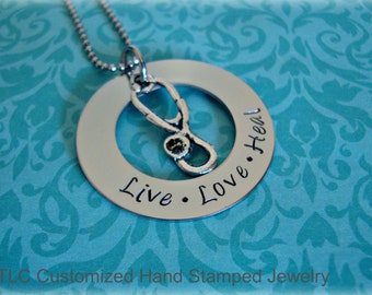 Personalized Hand Stamped Nurse, Doctor, RPN, LPN, Graduate Necklace or key chain.
