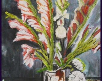 """Oil painting, """"Vase with Gladioli-Van Gogh"""" , Copy, signed, 40 x 50 Canvas cmts, Costa Rica, Peru, offer special elinca24"""