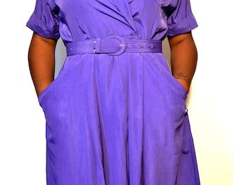 Vintage secretary dress/ Vintage belted dress/ vintage dresses/ Size 10