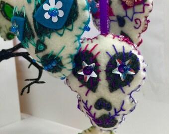 Felt Sugar Skull Ornaments