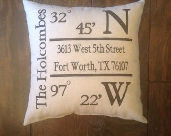 Housewarming Pillow, GPS Coordinates, Home Address Pillow, Northwest Pillow