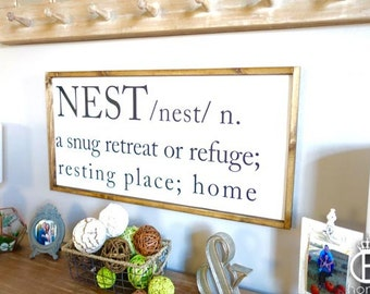 Nest Wood Sign