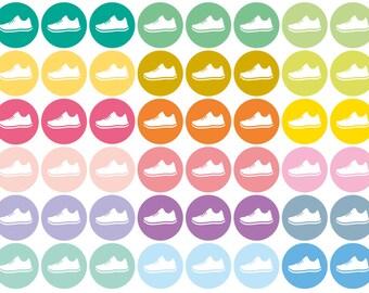 54 repositionable run stickers, pastel sticker, exercise sticker, planner stickers, workout stickers, fitness, eclp filofax happy planner