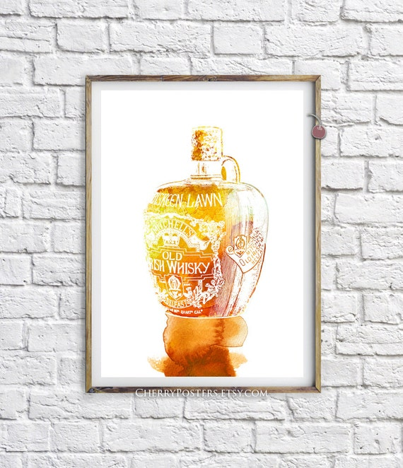 Irish Whisky Watercolor Print Home Decor Wall By Cherryposters