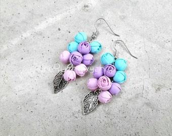 Ranunculus Flower bunches earrings
