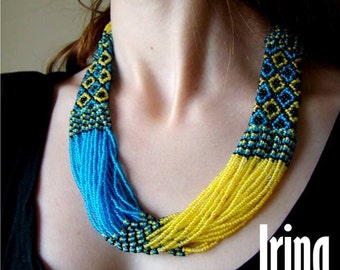 Ukrainian Folk necklace . Ukrainian Beads Nekclace. Gerdan. seed bead necklace