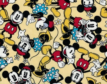 Mickey and Minnie Together Fabric- Springs Creative- 100% Cotton Fabric