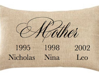 MOM PERSONALIZED PILLOW,Mother's Day,Birthday,Insert Included