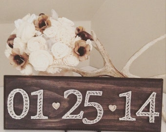 Date String Art sign- made to order