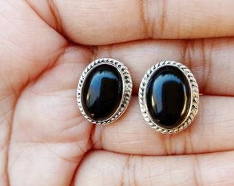 Sterling Silver Stud Earrings-Black Onyx Stud Earrings- Black Onyx Post Earrings-Black Studs-Large Stud-Onyx Earrings-