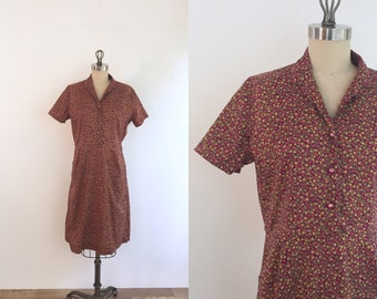 1950s Autonmal Floral Day Dress | medium