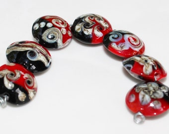 Red and Black Coin Shaped Lampwork Glass Beads