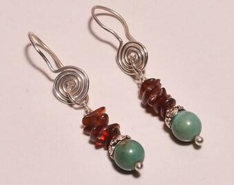 925 Sterling Solid Silver Dangling Earrings Turquoise,Amber Chips Handmade (FIJ)