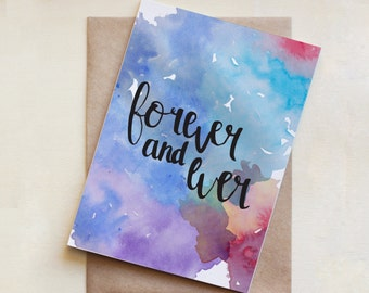 Love Card, Wedding, Watercolour, Greeting Card, Forever and Ever, Friendship