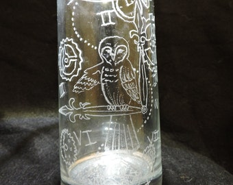 Steampunk Owl Glass