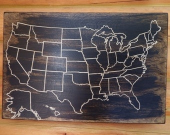 Travel Map US Wood Map USA Travel Map Personalized Pin - Wood us map