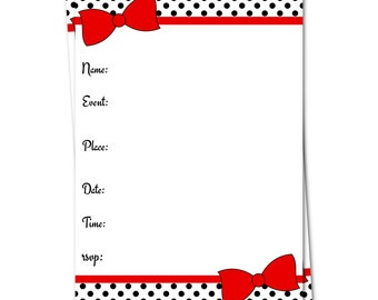 Red Bow Invitation, Fill in Invitation, Baby Shower Invitation, Adoption Invitation, Fill in the Blank, Birthday Invitation,Blank Invitation