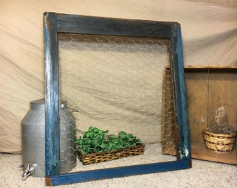 Up-cycled window frame, wall decor, vintage, unique, chicken wire, blue