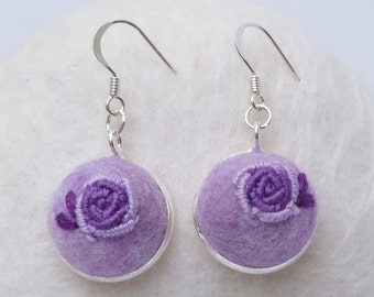 Felted Rose Earrings, Purple