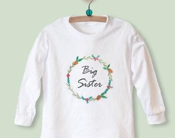 Christmas big sister etsy big sister t shirt top with christmas wreath long sleeve new baby gift for negle Choice Image