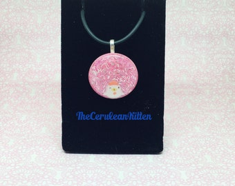 Winking Chicken Pink Necklace, Resin Jewelry