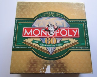 Vintage 1995 Monopoly 60th Anniversary Board Game Property Trading Game Limited Edition 100% Complete EUC