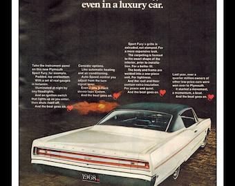 "Vintage Print Ad January 1968 : Chrysler Plymouth Fury Automobile Wall Art Decor 8.5"" x 11"" Advertisement"