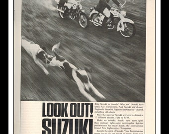 "Vintage Print Ad August 1964 : Suzuki ""Look Out! Suzuki Are Here"" Motorcycle Wall Art Decor 8.5"" x 11"" Print Advertisement"