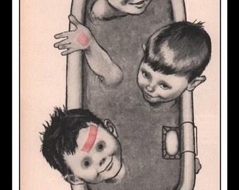 "Vintage Print Ad May 1957 : Band-Aid Plastic Bandages Illustration Boys Tub Wall Art Decor 5.5"" x 10.25"" Advertisement"