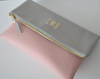 Colorblock Personalized Clutch Purse, Monogrammed Clutch Bag, Bridesmaid Gift, Wedding Accessory