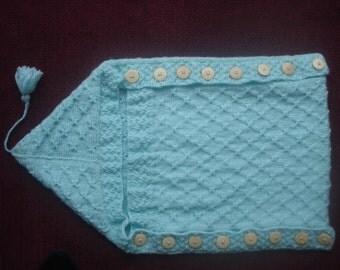 Hand Knitted Baby Aran Cocoon Sleep Bag Mint Green