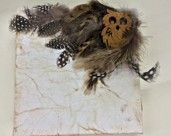 White Owl and Feathers Canvas Art 5x5