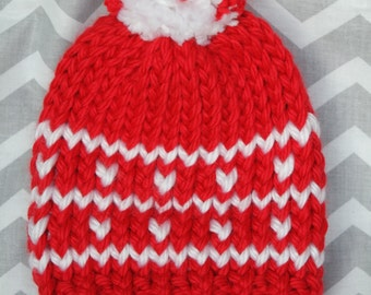 Red and White Heart Knit Baby Beanie, Chunky Knit Baby Hat, Heart Knit Hat, Valentines Knit Hat