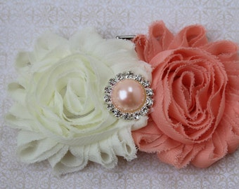 Coral flower girl hair clip coral and ivory bow coral and ivory wedding clip toddler hair bow ivory flower girl hair bow peach hair bows
