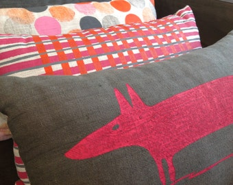 Screen Printed Pink Fox/Dog on Grey Linen, Spotted Pink/Grey Back, Cushion / Decorative Pillow Cover, Australian Made