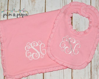 Monogrammed Burp Cloth and Bib Set, Baby Gift, Baby Girl, Shower present, Ruffle